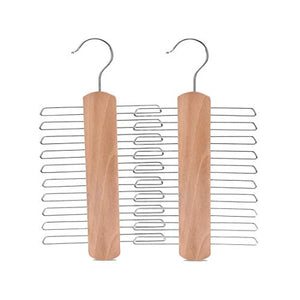 JS HANGER Multifunctional Accessories Hangers for Ties and Belts Natural Finish Wood Close End Teeth Anti-Slip Hold up to 20 pcs (2-Pack)