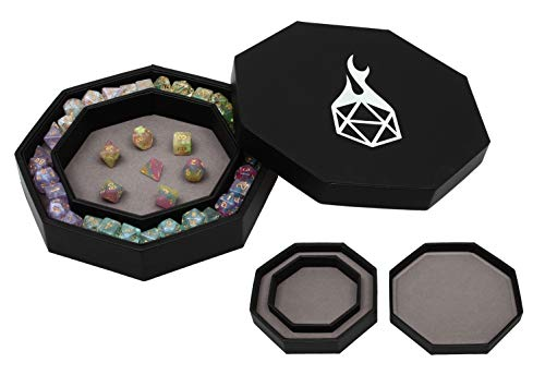 Forged Dice Co. Dice Tray Arena Rolling Tray and Storage Compatible with Any dice Game, D&D and RPG Gaming (Gray)