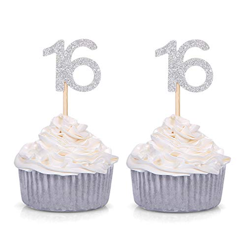 Set of 24 Silver Glitter Number 16 Cupcake Toppers 16th Birthday Celebrating Party Decors
