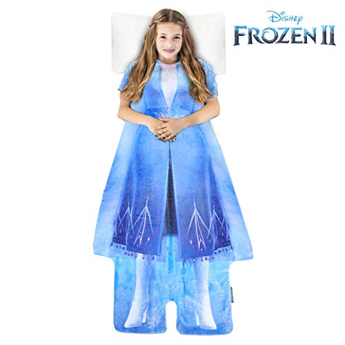 Blankie Tails | Disney Frozen Wearable Blanket - Frozen Disney Movie Double Sided Super Soft and Cozy Disney Blanket Minky Fleece Blanket (56'' H x 30' W (Kids Ages 5-12), Frozen 2 - Elsa Dress)