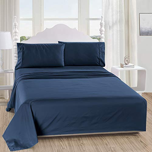 Bed Sheet Set - 1 Flat Sheet 1 Deep Pocket Fitted Sheet 2 Pillow Cases, 4-Piece Brushed Microfiber Bedding Sheet Set, Wrinkle, Fade, Stain Resistant (Queen, Navy)