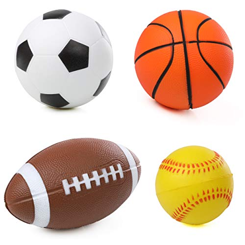 High Bounce Pro Ball Set of 4 Soft PU Balls Easy Grip and Throw, for Toddlers and Kids; Soccer, Basketball, Football and Tennis Ball…