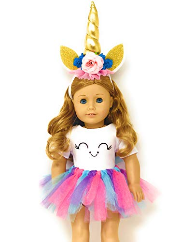 MY GENIUS DOLLS Unicorn Clothes, Headband, Tutu -fits All 18 inch Dolls Like American Girl, Our Generation My Life Gotz | Great Gift for Little and Big Girls|Accessories, Outfits| Doll NOT Included