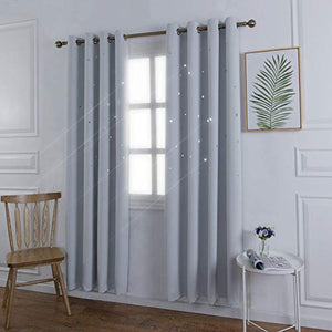 KEKO-TEX Star Blackout Curtains 2 Panels with Grommet for Kids Room,Thermal Insulated with Cutout Night Sky Twinkle Star Darkening Drapes for Bedroom(Greyish White -52X84in 2Panels)