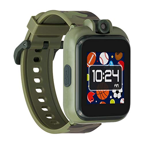 iTouch Playzoom Kids Smart Watch with Swivel Camera, Photo Filters, Video Recorder, Stopwatch, Calendar, Sound Animations, Educational and Active Games (Olive Camo)