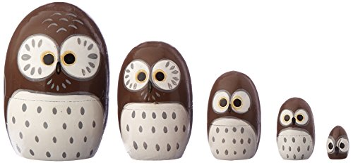 Happy Sales HSMD5/BR, Wood Nesting Doll-Owl (Brown)