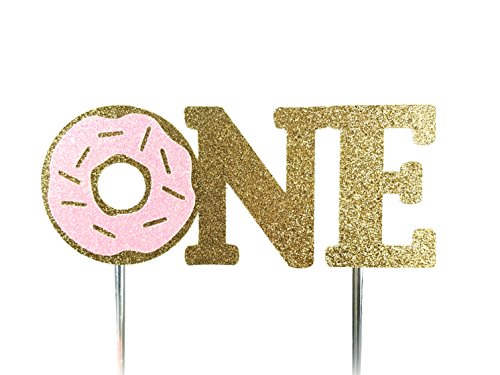 CMS Design Studio Handmade 1st Donut Birthday Cake Topper Decoration - One - Double Sided Gold Glitter Stock (Pink)