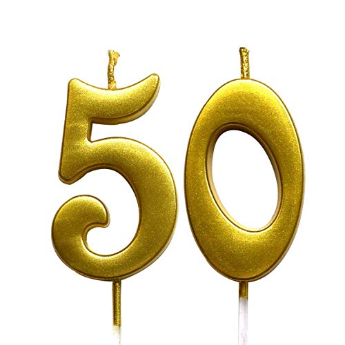 Gold 50th Birthday Numeral Candle, Number 50 Cake Topper Candles Party Decoration for Women or Men