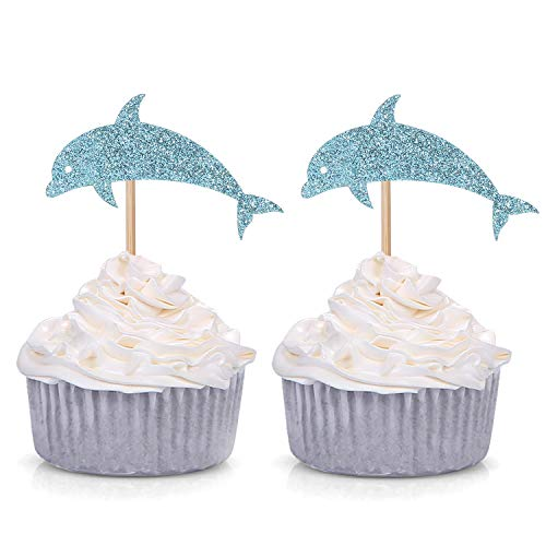 24 Blue Glitter Dolphin Cupcake Toppers Baby Shower Birthday Under the Sea Theme Party Decorations