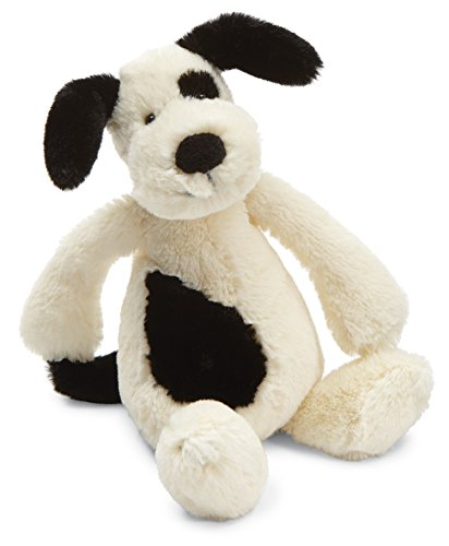 Jellycat Bashful Black and Cream Puppy Stuffed Animal, Small, 7 inches