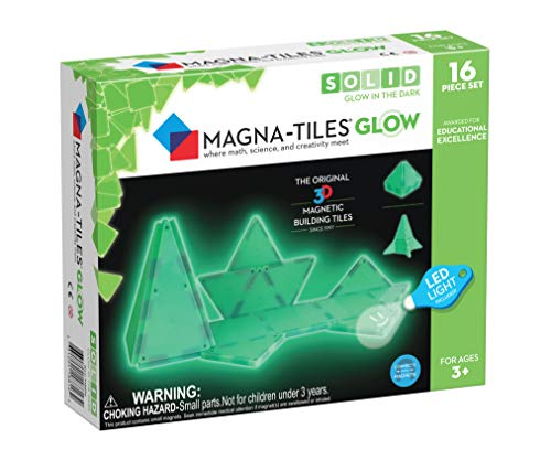Magna Tiles Glow in The Dark Set, The Original Magnetic Building Tiles for Creative Open-Ended Play, Educational Toys for Children Ages 3 Years + (16 Pieces + LED Light Included)