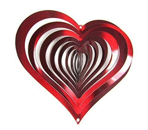 WorldaWhirl Whirligig 3D Wind Spinner Hand Painted Stainless Steel Twister Heart (6.5