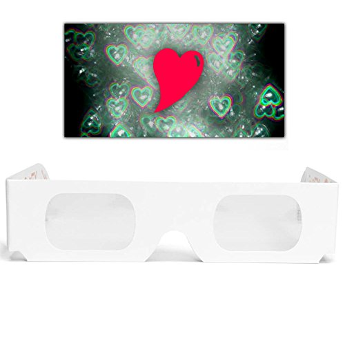 5 GloFX Heart Effect Paper Diffraction Glasses [5 Pack] - SEE HEARTS! 3D Holographic Fireworks Kids Bulk Cardboard Rave EDM Party Sunglasses