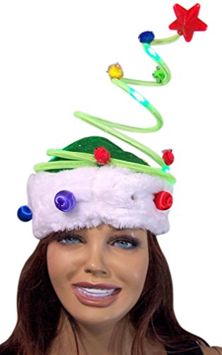 Christmas Tree LED Light Up Spring Holiday Ugly Sweater Party Hat Accessory