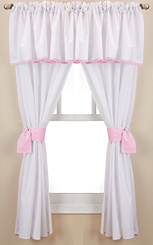 Baby Doll Bedding Forever Mine Junior 5 Piece Window Valance Curtain Set, Pink