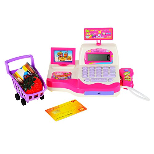 BAOLI Children Pretend Toy Shopping Electronic Cash Register Realistic Actions & Sounds Pink