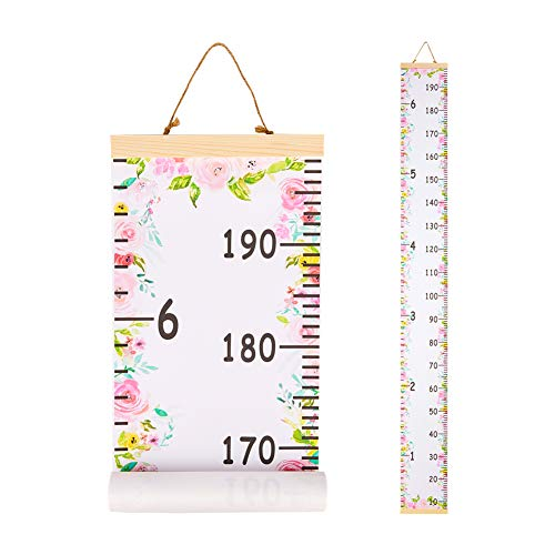 Beinou Baby Growth Chart Ruler for Kids Wood Frame Height Measure Chart 7.9'' x 79'' Canvas Hanging Height Growth Chart for Baby Nursery Decoration Baby Shower Gift (Pink Flowers)