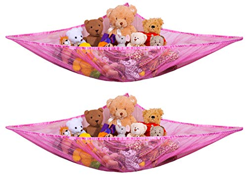 Jumbo Toy Hammock, Pink - Organize Stuffed Animals and Children's Toys with this Mesh Hammock. Great Decor while Neatly Organizing Kid's Toys and Stuffed Animals. Expands to 5.5 feet. (2-Pack)