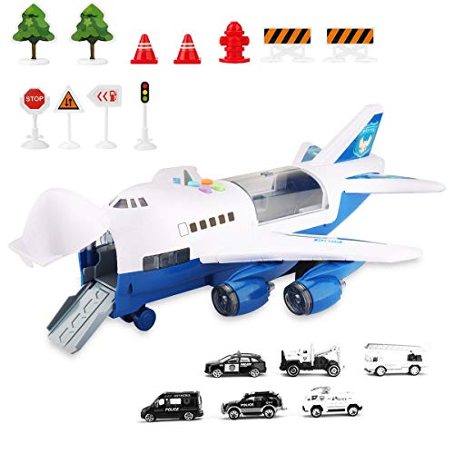 Kids Electronic Airplane Toys with Light and Music, Truck Cars, 11 Road Signs, Educational Vehicle Construction Car Set Gift for Child (Police Car Airplane)