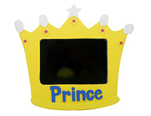 EMILYSTORES Princess Prince 5 Inches EVA Prince Toys Mirror for Children Kids Royal Crown Yellow Color 1PC