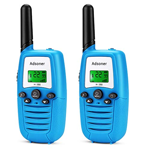 Adsoner Kids Walkie Talkies with Backlit LCD Display 22 Channels FRS/GMRS Two Way Radio Toys with Built-in Flashlight Long Range Walki Talki Set for Indoor Outdoor Activities - 2 Pack (Blue)