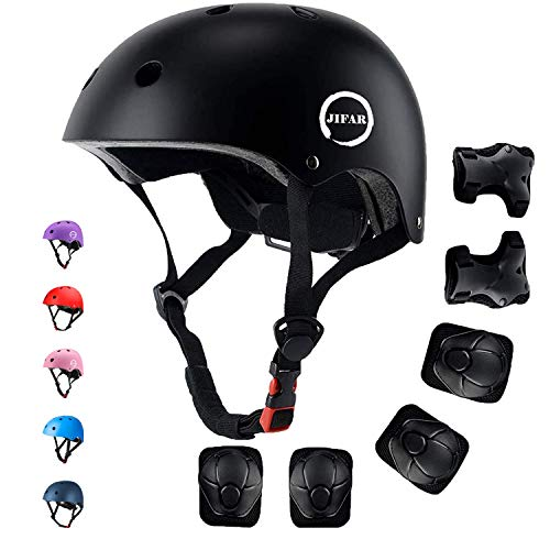 JIFAR Adjustable Helmet for Youth Kids Toddler Boys Girls,Protective Gear with Elbow Knee Wrist Pads for Multi-Sports Skateboarding Bike Riding Hiking Scooter Inline skatings Longboard Roller Skate