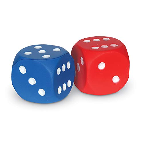 Learning Resources Foam Dice: Dot Dice, Red and Blue 6-Sided Foam Dice, Early Math Skills, Set of 2, Grades PreK+, Ages 3+