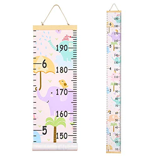 Beinou Baby Growth Chart Ruler for Kids Wood Frame Height Measure Chart 7.9'' x 79'' Canvas Hanging Height Growth Chart for Baby Nursery Decoration Baby Shower Gift (Happy Elephant)