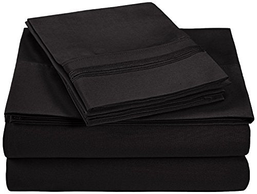 Superior 5-Line Sheets with Embroidered Pillowcases, Luxurious Silky Soft, Light Weight, Wrinkle Resistant Brushed Microfiber, Full Size 4-Piece Sheet Set, Black