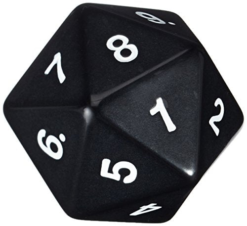 Koplow Games 55mm Jumbo D20 Opaque Black with White Numbers