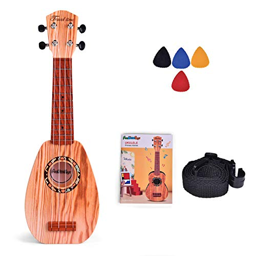 FUN LITTLE TOYS 17 Inch Toy Guitar Ukulele for Kids, Musical Instruments for Kids with Strap, Picks and Tutorial, Learning Educational Toys for Boys and Girls (Burlywood)