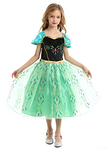 Ecparty Princess Costumes Dress for Your Little Girls Dress up (3T, Anna Dress Green)