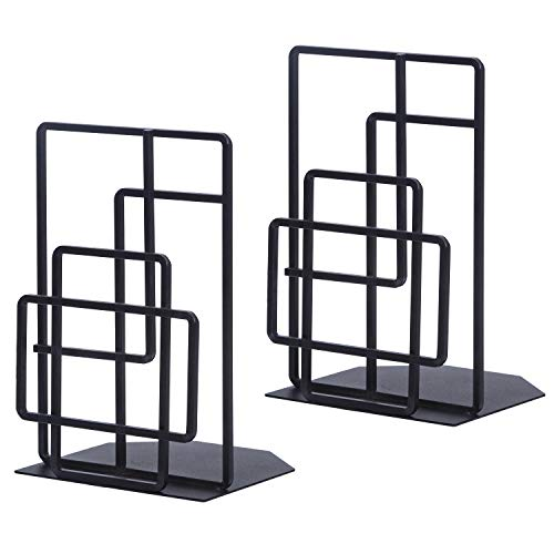 SRIWATANA Book Ends Heavy Duty, Decorative Black Bookends for Shelves, Window Lattice Design