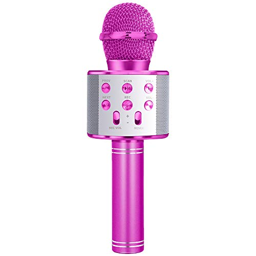 LITTLEFUN Toys for 3-10 Year Old Girl, Wireless Bluetooth Microphone Toy Age 3-10 Girl Kids Kareoke Singing Microphone Gifts Age 4 5 6 7 8 Girls Boys Birthday Prensent Pink Mic