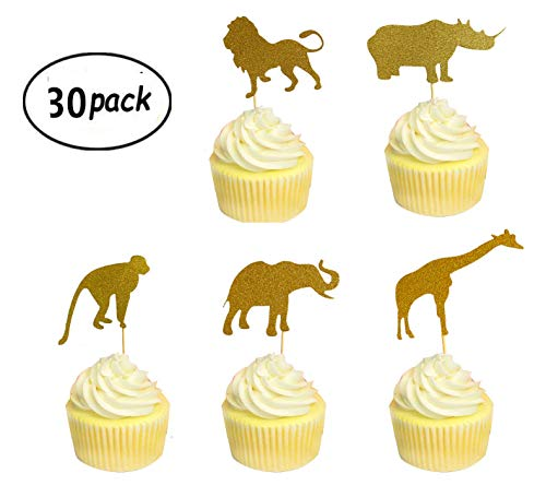 30 Pack Gold Glitter Jungle Animal Toppers Cupcake Picks Jungle Animals for Jungle safari Animals Party Baby Showers Birthday Party Cake Decorations