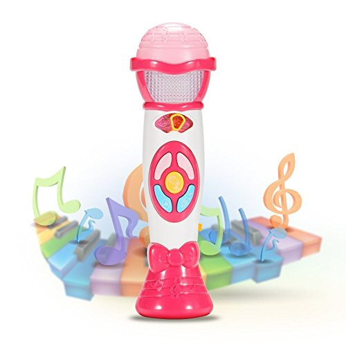 Acekid Karaoke Microphone Toy, Voice Changing and Recording Microphone, Early Educational Music Toy for Kids and Children (Pink)