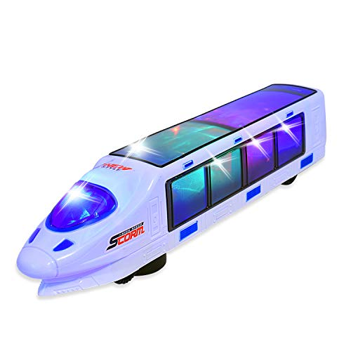 WolVolk Beautiful 3D Lightning Electric Train Toy for Kids with Music, goes Around and Changes Directions on Contact