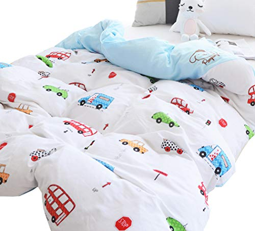 J-pinno Boys Girls Cartoon Cars Muslin Duvet Cover, 100% Cotton, Invisible Zipper, for Kids Crib Bedding Decoration Gift (Crib 47