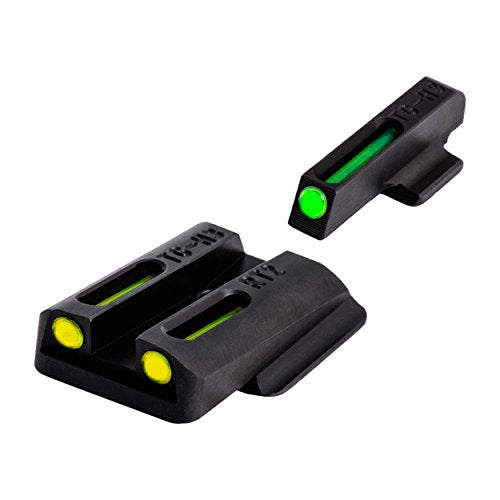 TRUGLO TFO Tritium and Fiber-Optic Handgun Sights for Ruger Pistols, Ruger LC9 / 9S / 380, Green Front, Yellow Rear