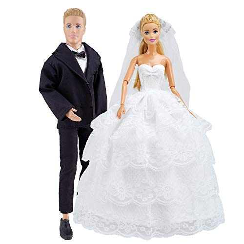 E-TING Beautiful Gown Bride Dress Clothes with Veil and Groom Business Suit for Boy Girl Dolls