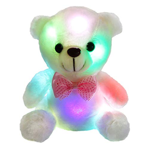 Bstaofy WEWILL Glow White Teddy Bear Stuffed Animal LED Colorful Night Light Plush Toy Soft Floppy Gift for Kids on Birthday Valentine Festivals, 8-Inch