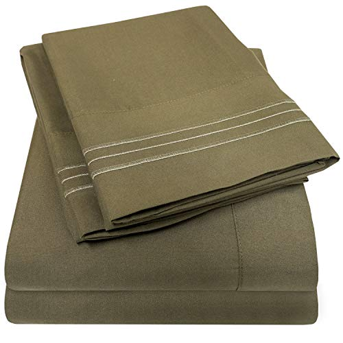 1500 Supreme Collection Bed Sheets Set - Luxury Hotel Style 4 Piece Extra Soft Sheet Set - Deep Pocket Wrinkle Free Hypoallergenic Bedding - Over 40+ Colors - Queen Size, Olive