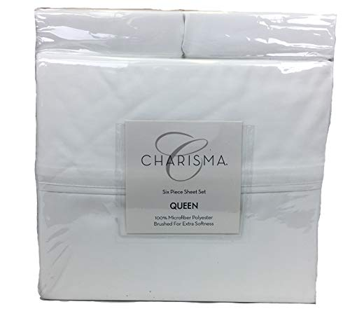 Charisma Microfiber 6-Piece Queen Sheet Set -White