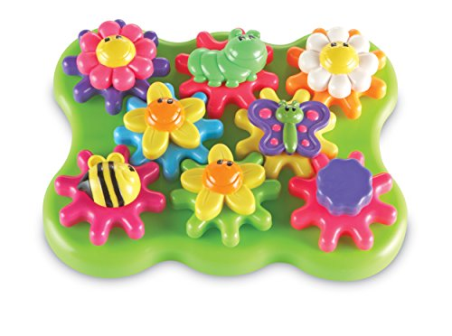 Learning Resources Flower Garden Build & Spin Playset, Toddler Fine Motor Toy, Easter Basket Toy, 17 Pieces, Ages 2+