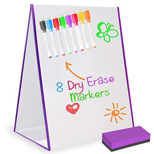 glokers Magnetic Easel Dry Erase White Board for Kids & Adults - Desktop Drawing Board with 8 Markers & Eraser - Portable Tabletop Whiteboard Pad for School, Agendas, Vision & More - 16 x 12.5 Inches