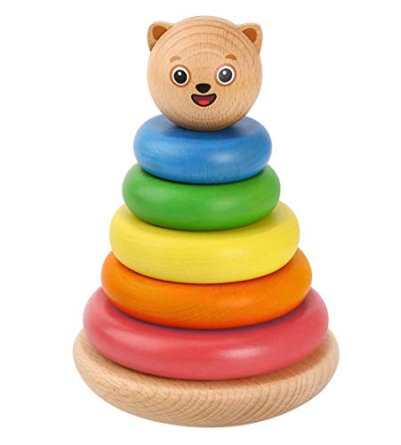 Bimi Boo Wooden Stacking Toy - Classic Baby Tower Stacker with Rings for Toddlers Ages 2 to 5 - Developmental Toys for Kindergarten Kids ( 7 Natural Solid Wood Pieces )