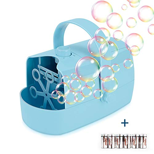 Supkiir Bubble Machine, Automatic Bubble Blower for Kids Portable Auto Bubble Maker Powered by Plug-in or Batteries Bubble Toys and Gifts for Birthday Outdoor Indoor Boys Grils