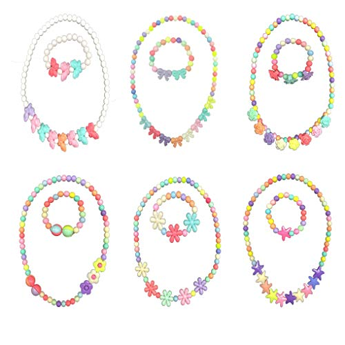 6 Packs Toddler Necklace and Bracelet Set, Little Girls Necklace and Bracelet Kids Princess Necklace Bracelet Girls Jewelry Toddler Jewelry Kid Jewelry Girl Jewelry