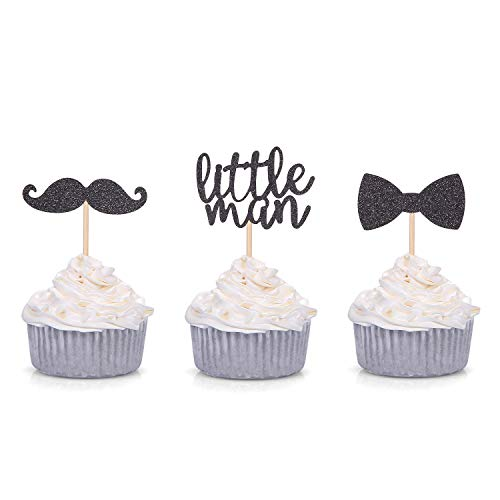 24 PCS Black Glitter Little Man Mini Mustache Bowtie Cupcake Toppers for Baby Shower Kid's Birthday Party Decorations