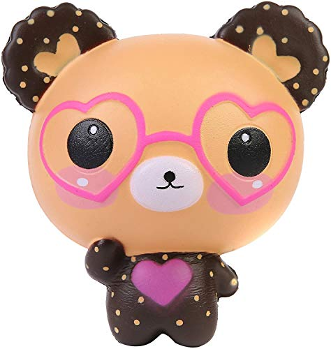 AOLIGE �Kids�Party�Decorations Squishies Slow Rising Jumbo Kawaii Cute Glasses Bear Creamy Scent Stress Reliever Toy